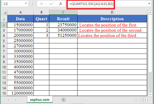 QUARTILE.EXC Function in Excel - How to use QUARTILE.EXC Function in Excel