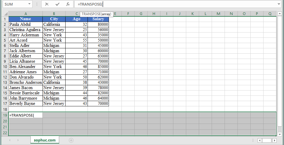 TRANSPOSE Function 2 - How to use TRANSPOSE Function in Excel