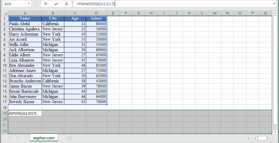 TRANSPOSE Function in Excel 1 - How to use TRANSPOSE Function in Excel