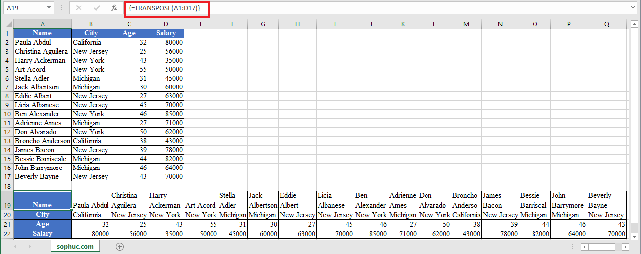 TRANSPOSE Function in Excel - How to use TRANSPOSE Function in Excel