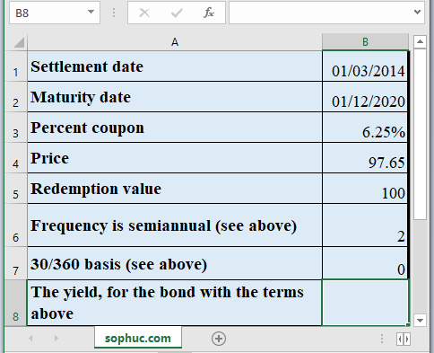 YIELD Function 1 - How to use YIELD Function in Excel