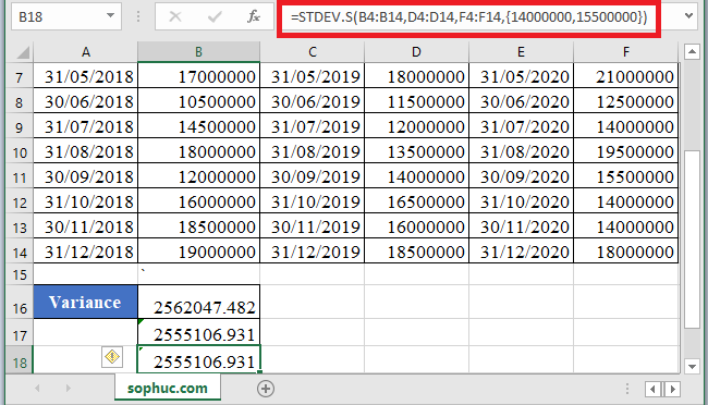 STDEV.S Function 1 - How to use STDEV.S Function in Excel