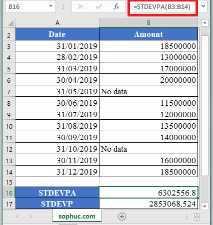 STDEVPA Function 1 - How to use STDEVPA Function in Excel