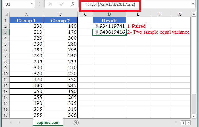 T.TEST Function 1 - How to use T.TEST Function in Excel