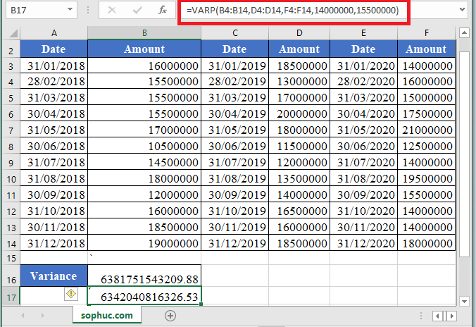 VAR.P Function 1 - How to use VAR.P Function in Excel