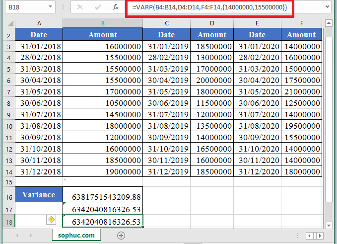 VAR.P Function 2 - How to use VAR.P Function in Excel