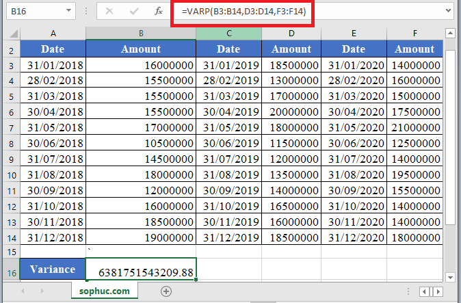 VAR.P Function in Excel 1 - How to use VAR.P Function in Excel