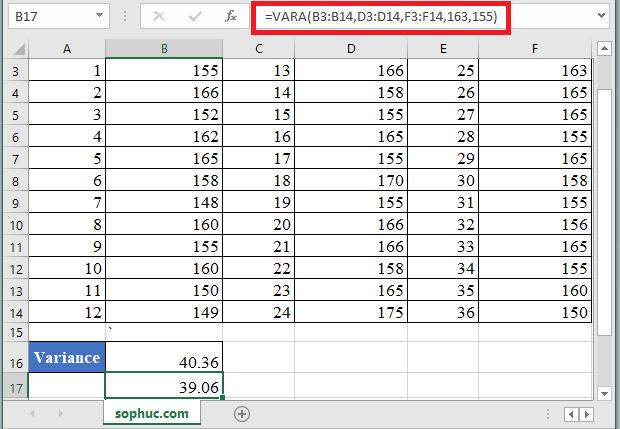 VARA Function 1 - How to use VARA Function in Excel