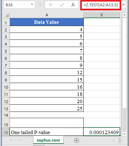 Z.TEST Function in Excel 1 - How to use Z.TEST Function in Excel