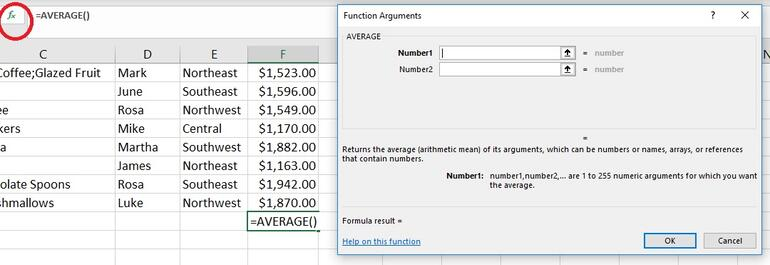 Click Insert Function to access a list of arguments - 9 shortcuts for working more efficiently with Excel expressions