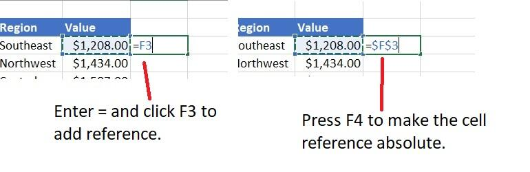 Use F4 to express absolute referencing - 9 shortcuts for working more efficiently with Excel expressions