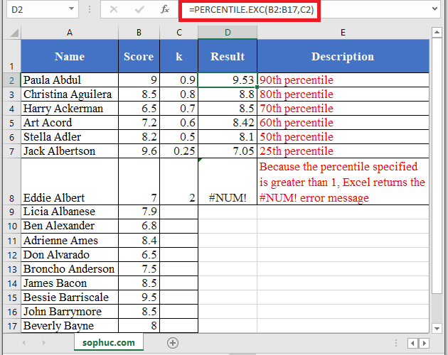 PERCENTILE.EXC Function in Excel - How to use PERCENTILE.EXC Function in Excel