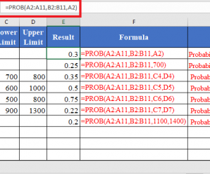 How to use PROB Function in Excel