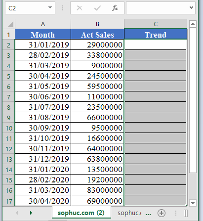 TREND Function 1 - How to use TREND Function in Excel