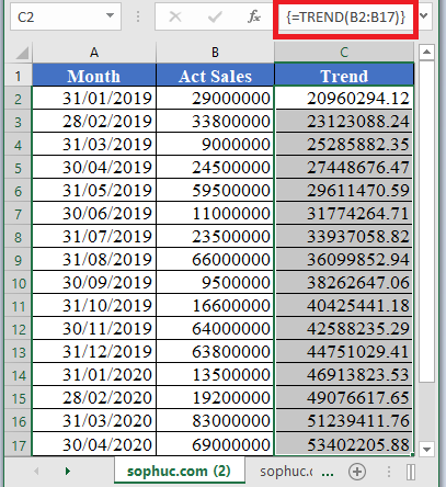 TREND Function 2 - How to use TREND Function in Excel
